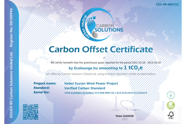 Carbon Offset Certificate - ecolounge